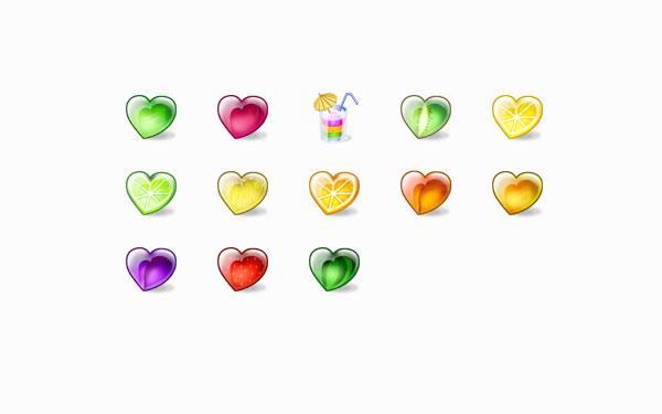 多彩心形水果文件夹图标